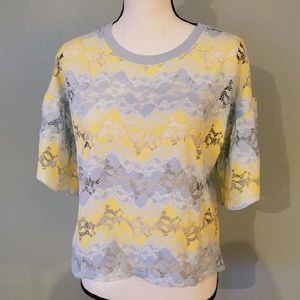 New With Tags Zara Blue and Yellow Lace Crop Top